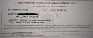 Business tax receipt